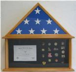 "Military Flag, Medals & Insignia Shadow Box 5""X 9.5"""